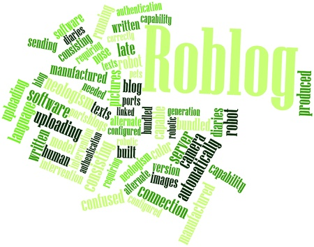 neologism: Abstract word cloud for Roblog with related tags and terms Stock Photo