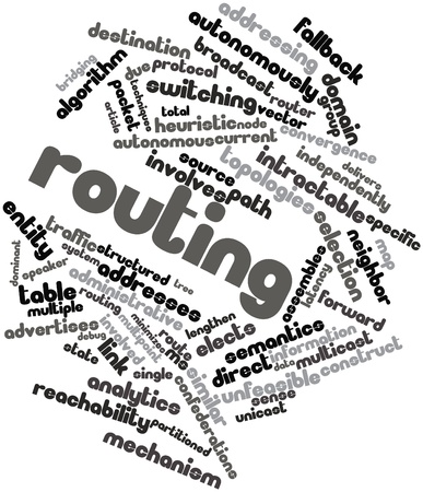 unstructured: Abstract word cloud for Routing with related tags and terms Stock Photo