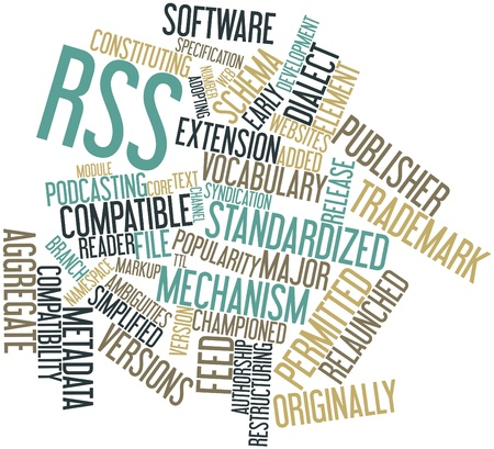 Abstract word cloud for RSS with related tags and terms Stock Photo - 16579863