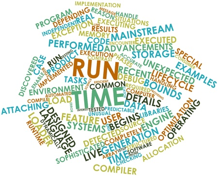 Abstract word cloud for Run time with related tags and terms Stock Photo - 16579209