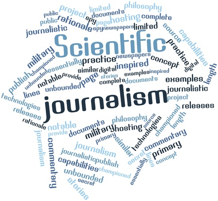 rationale: Abstract word cloud for Scientific journalism with related tags and terms