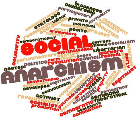 anarchism: Abstract word cloud for Social anarchism with related tags and terms Stock Photo