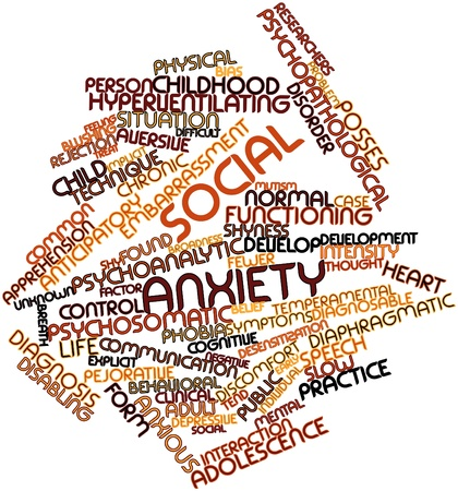 developmental disorder: Abstract word cloud for Social anxiety with related tags and terms