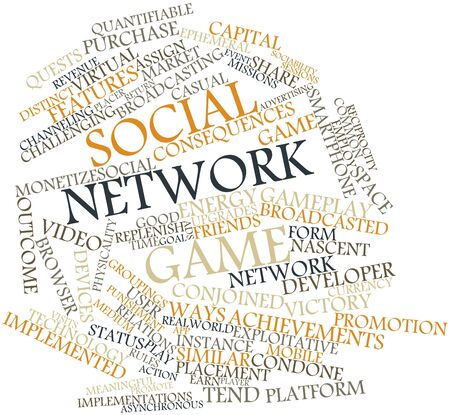 stock market return: Abstract word cloud for Social network game with related tags and terms
