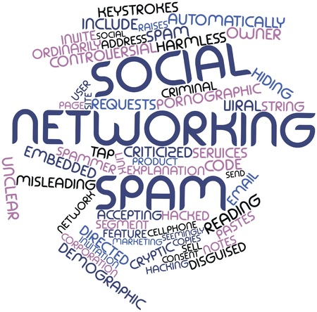 Abstract word cloud for Social networking spam with related tags and terms Stock Photo - 16580016