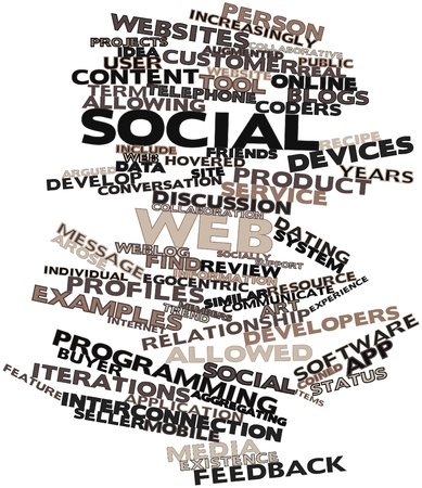 coined: Abstract word cloud for Social web with related tags and terms Stock Photo
