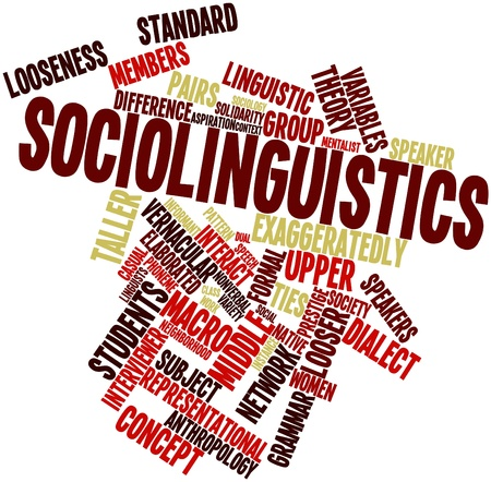 attested: Abstract word cloud for Sociolinguistics with related tags and terms Stock Photo
