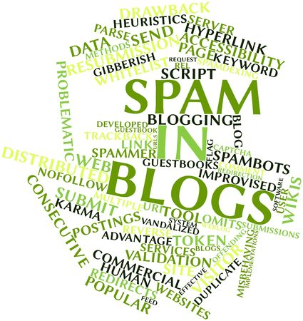 Abstract word cloud for Spam in blogs with related tags and terms Stock Photo - 16579905
