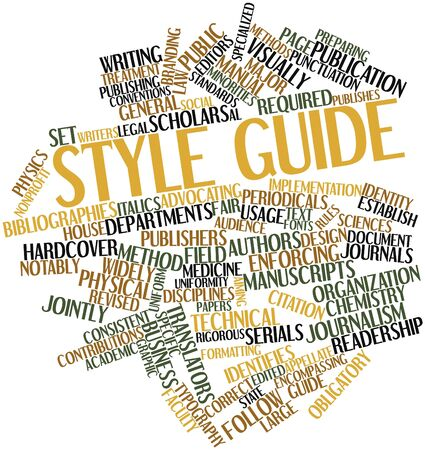 enforcing: Abstract word cloud for Style guide with related tags and terms Stock Photo