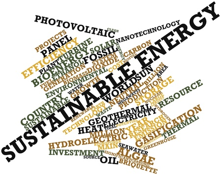 powerplants: Abstract word cloud for Sustainable energy with related tags and terms
