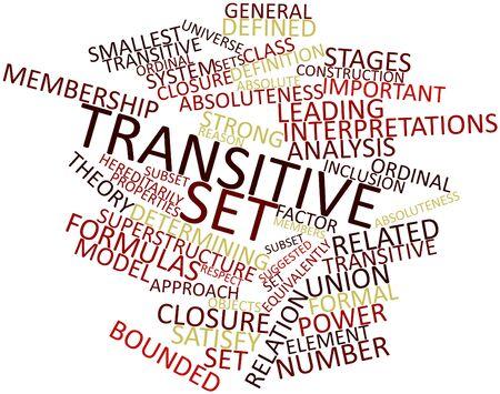 Nube palabra abstracta para el conjunto transitivo con etiquetas y términos relacionados Foto de archivo