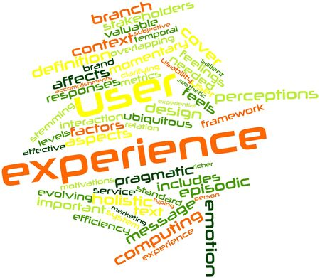 experiential: Abstract word cloud for User experience with related tags and terms