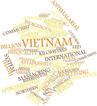 関連するタグと用語とベトナムの抽象的な単語雲