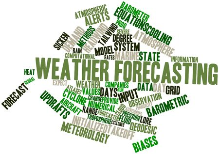 weather terms: Abstract word cloud for Weather forecasting with related tags and terms