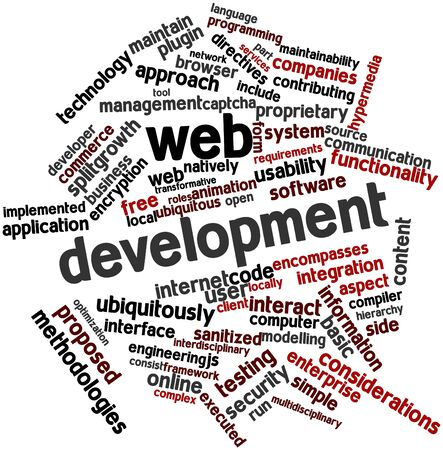 Abstract word cloud for Web development with related tags and terms Stock Photo - 16578929