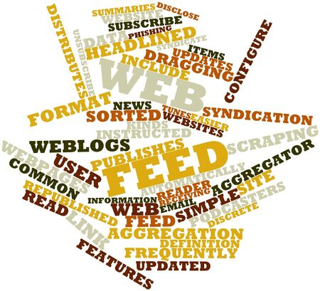 unsubscribe: Abstract word cloud for Web feed with related tags and terms Stock Photo