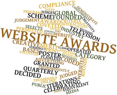 transferred: Abstract word cloud for Website awards with related tags and terms Stock Photo