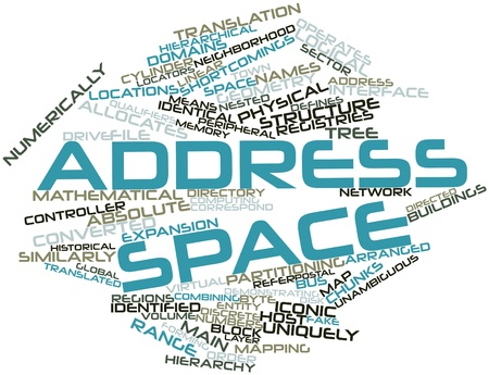 unambiguous: Abstract word cloud for Address space with related tags and terms Stock Photo