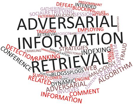 coined: Abstract word cloud for Adversarial information retrieval with related tags and terms Stock Photo