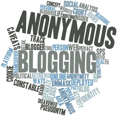 browses: Abstract word cloud for Anonymous blogging with related tags and terms Stock Photo