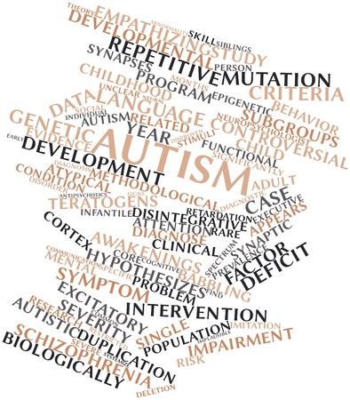 tantrums: Word cloud astratto per l'Autismo con tag correlati e termini