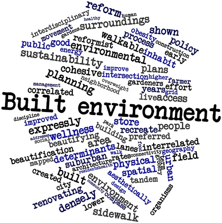 determinants: Abstract word cloud for Built environment with related tags and terms Stock Photo
