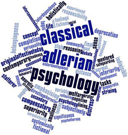 oneself: Abstract word cloud for Classical Adlerian psychology with related tags and terms Stock Photo
