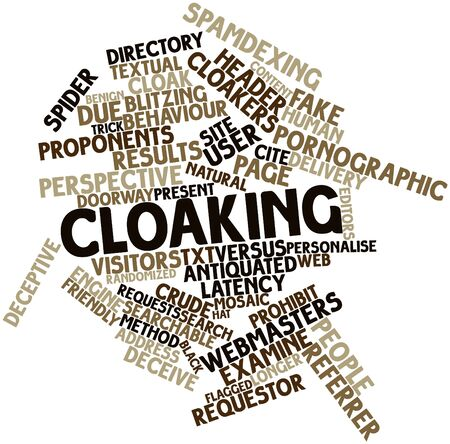 Abstract word cloud for Cloaking with related tags and terms Stock Photo - 16579911