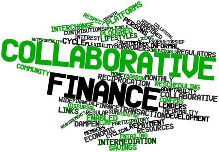 participatory: Abstract word cloud for Collaborative finance with related tags and terms Stock Photo