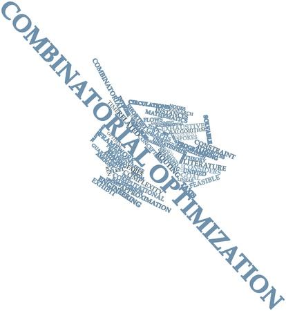 determining: Nube palabra abstracta para la optimizaci�n combinatoria con las etiquetas y t�rminos relacionados Foto de archivo