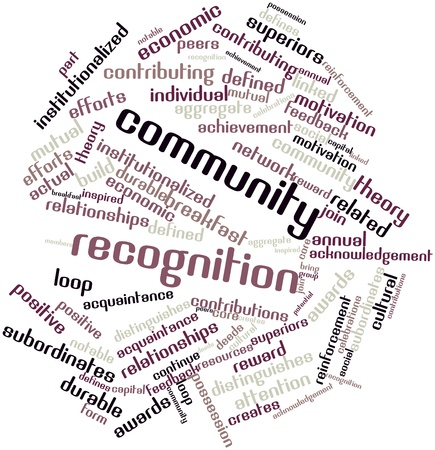 community recognition: Abstract word cloud for Community recognition with related tags and terms Stock Photo
