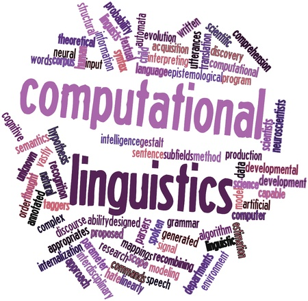 linearly: Abstract word cloud for Computational linguistics with related tags and terms Stock Photo