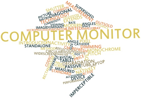 reduces: Abstract word cloud for Computer monitor with related tags and terms