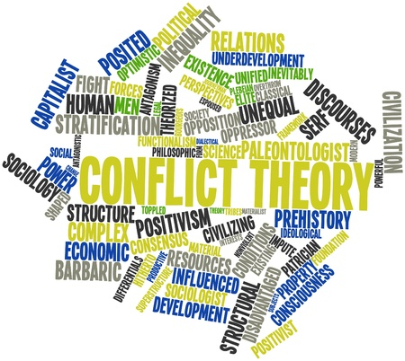 Abstract word cloud for Conflict theory with related tags and terms