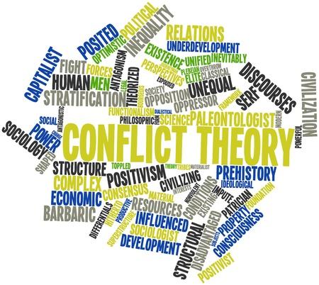serf: Nuage de mot abstrait de la th�orie des conflits avec des �tiquettes et des termes connexes