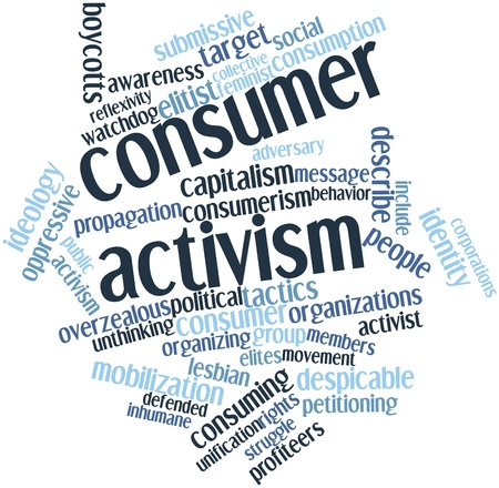 undertaken: Abstract word cloud for Consumer activism with related tags and terms