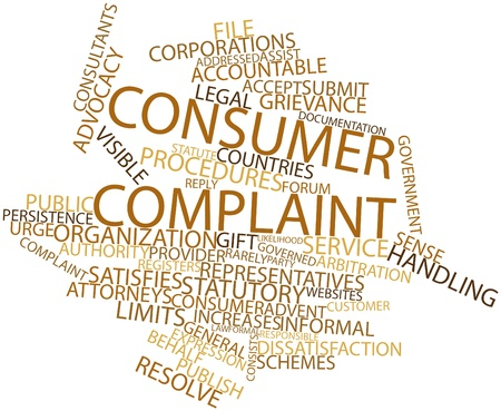 grievance: Abstract word cloud for Consumer complaint with related tags and terms