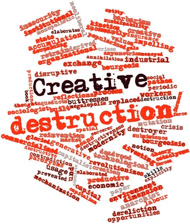 creative force: Abstract word cloud for Creative destruction with related tags and terms
