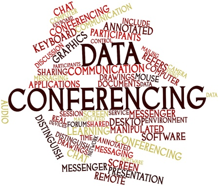 conferencing: Word cloud astratto per le conferenze di dati con tag correlati e termini Archivio Fotografico
