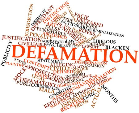 punishable: Abstract word cloud for Defamation with related tags and terms Stock Photo