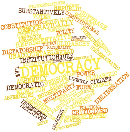 Abstract word cloud for Democracy with related tags and terms