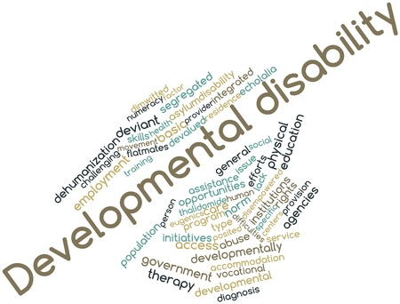 norm: Abstract word cloud for Developmental disability with related tags and terms