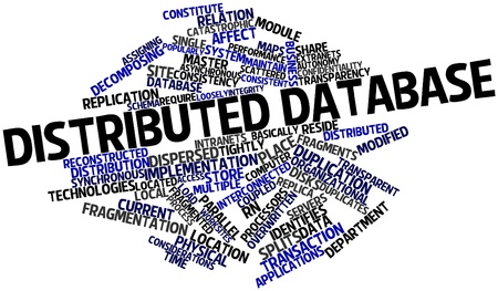 Abstract word cloud for Distributed database with related tags and terms Stock Photo - 16580130