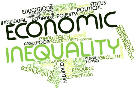 egalitarian: Abstract word cloud for Economic inequality with related tags and terms Stock Photo