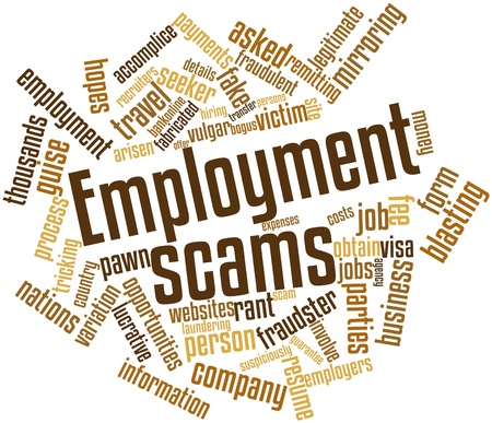 demanded: Abstract word cloud for Employment scams with related tags and terms