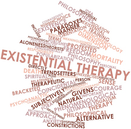 contended: Abstract word cloud for Existential therapy with related tags and terms Stock Photo