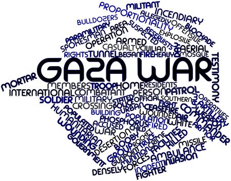 booby: Abstract word cloud for Gaza War with related tags and terms Stock Photo