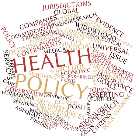 topics: Abstract word cloud for Health policy with related tags and terms Stock Photo