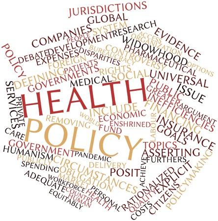 servicios publicos: Nube palabra abstracta para la pol�tica de salud con las etiquetas y t�rminos relacionados Foto de archivo