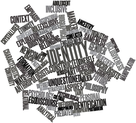 conflicted: Abstract word cloud for Identity with related tags and terms Stock Photo